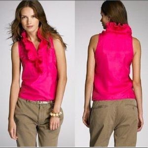 J.Crew sz 6 hot pink silk ruffle blouse
